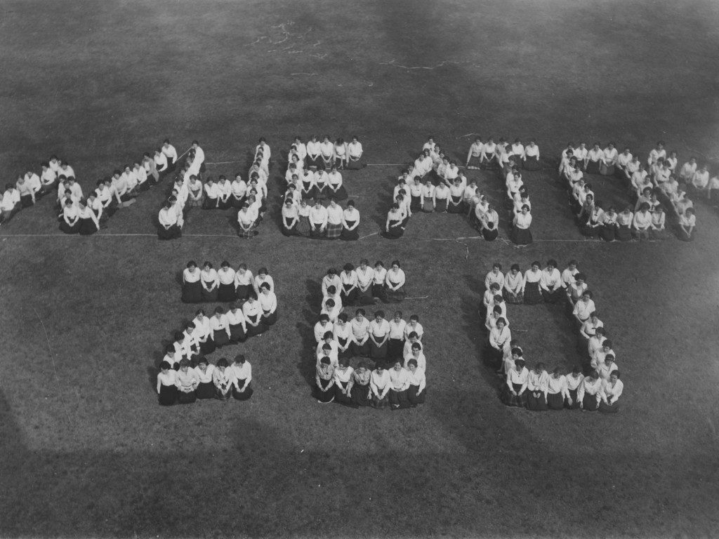 """Students Assembled to Spell Out """"Wheaton 260"""""""