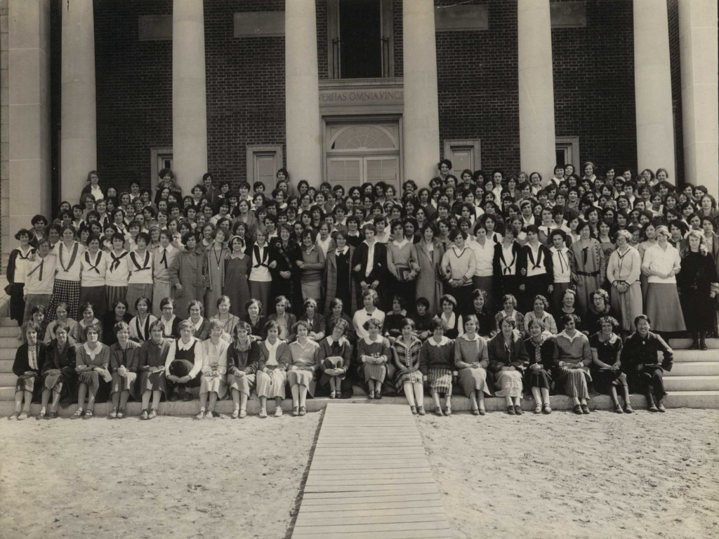 Student body on the steps of the library, 1925, with Shio Sakanishi front right